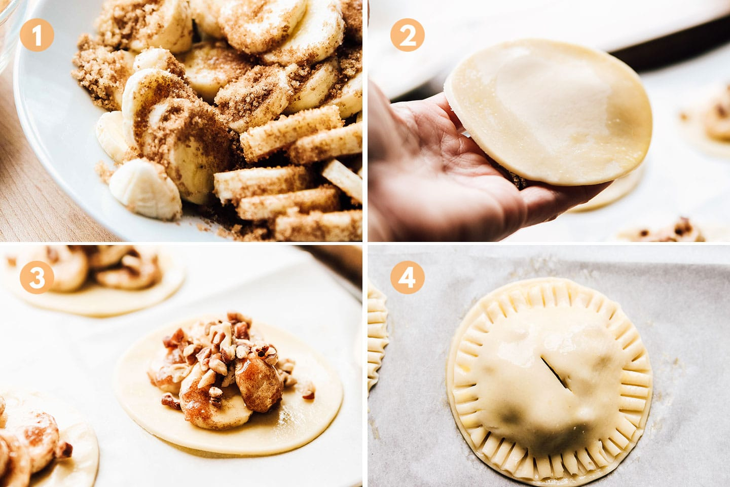 steps 1 through 4 of making the hand pies.