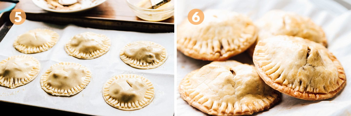 steps 5 and 6 for making bananas foster hand pies.