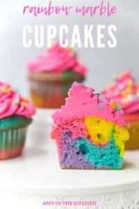 rainbow cupcakes on a plate