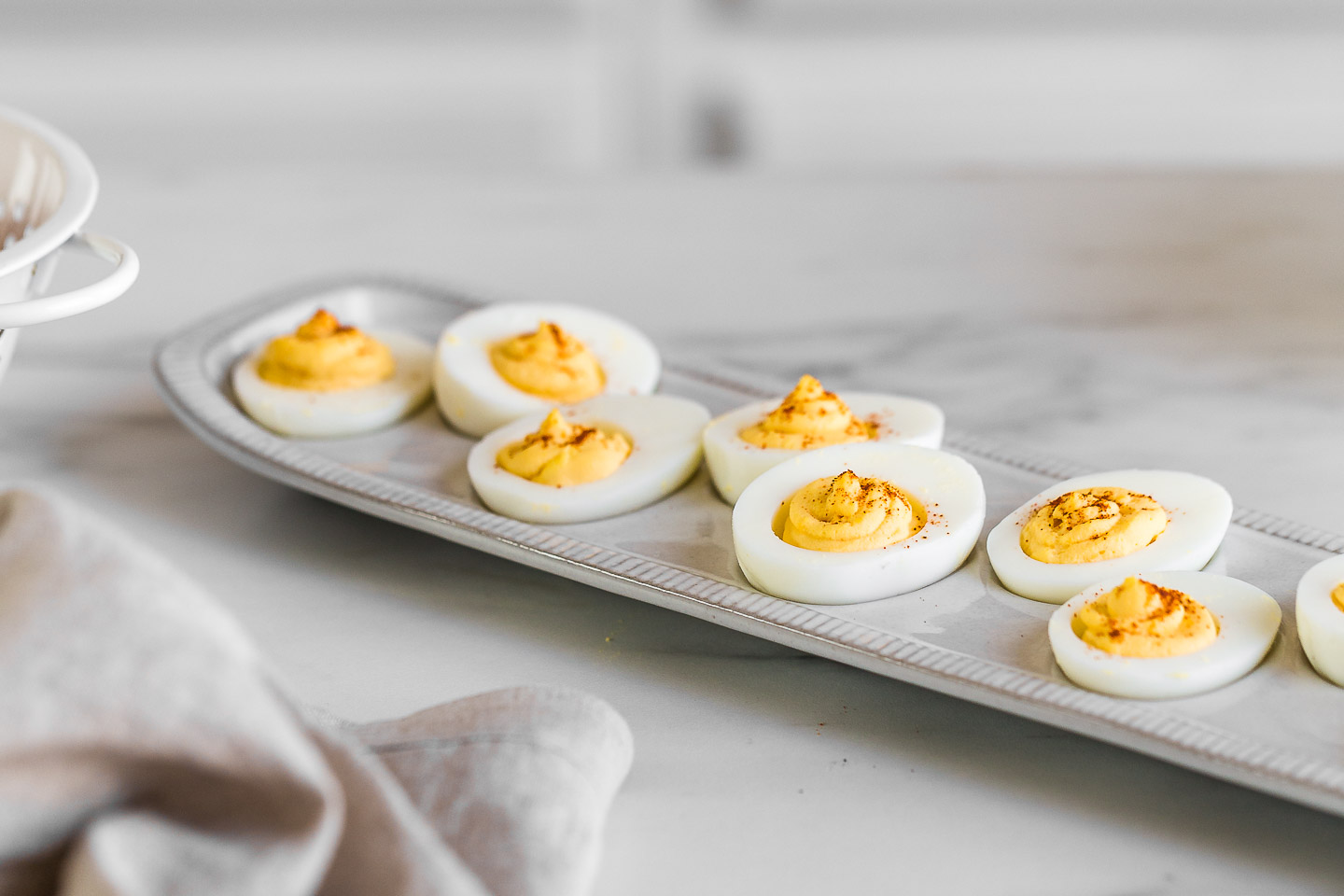 deviled eggs on a platter.