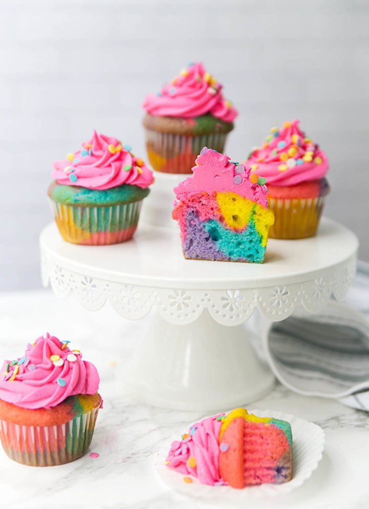 rainbow marble cupcakes on a cakestand