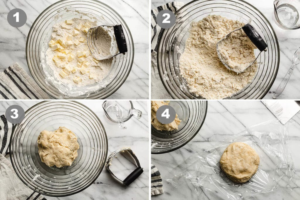 step by step cutting butter into flour.