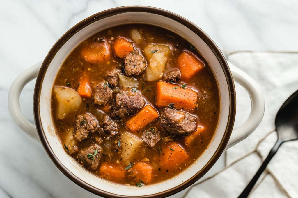 a big bowl of instant pot beef stew.