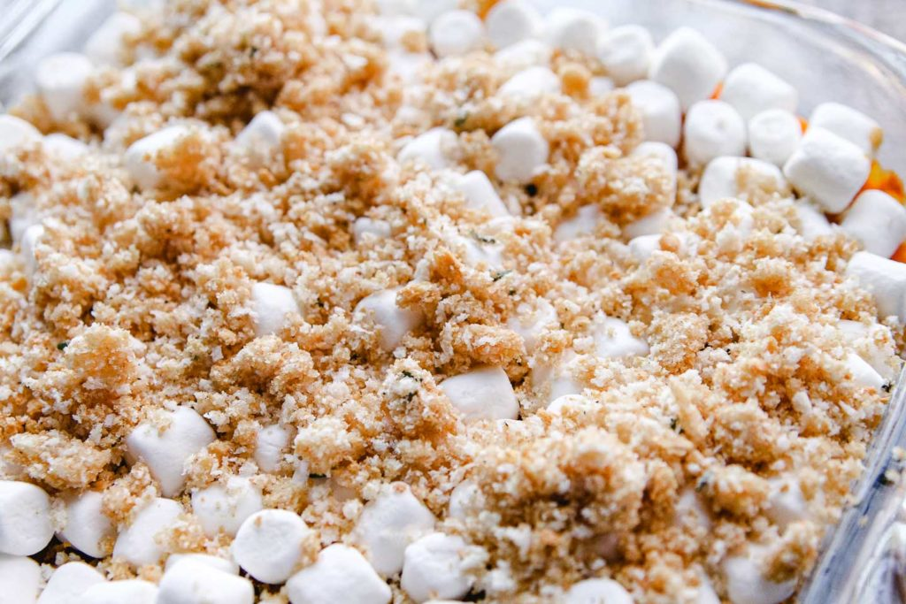 sweet potato casserole with marshmallows and crumb topping.