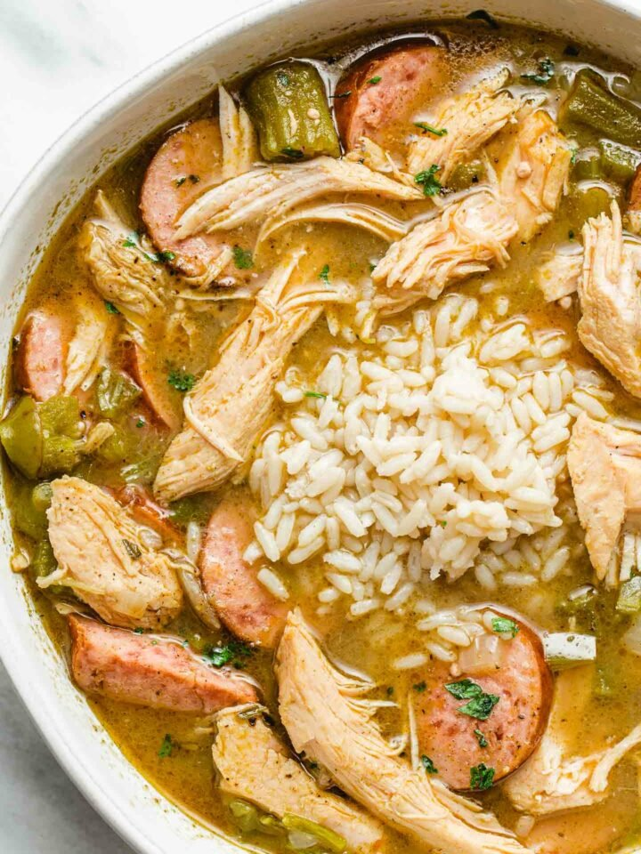 bowl of turkey gumbo with rice.