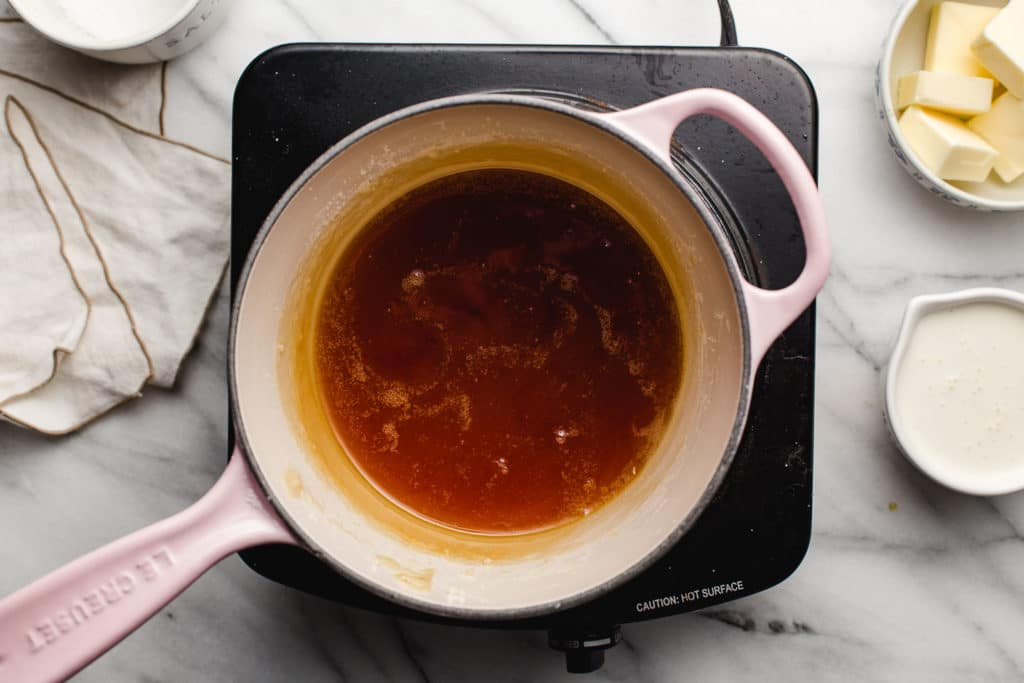 Sugar browning in a saucepan.
