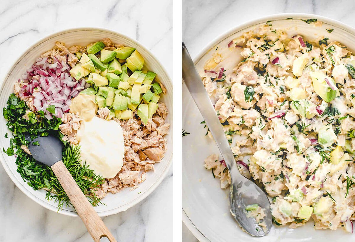 Avocado tuna salad ingredients in a bowl.