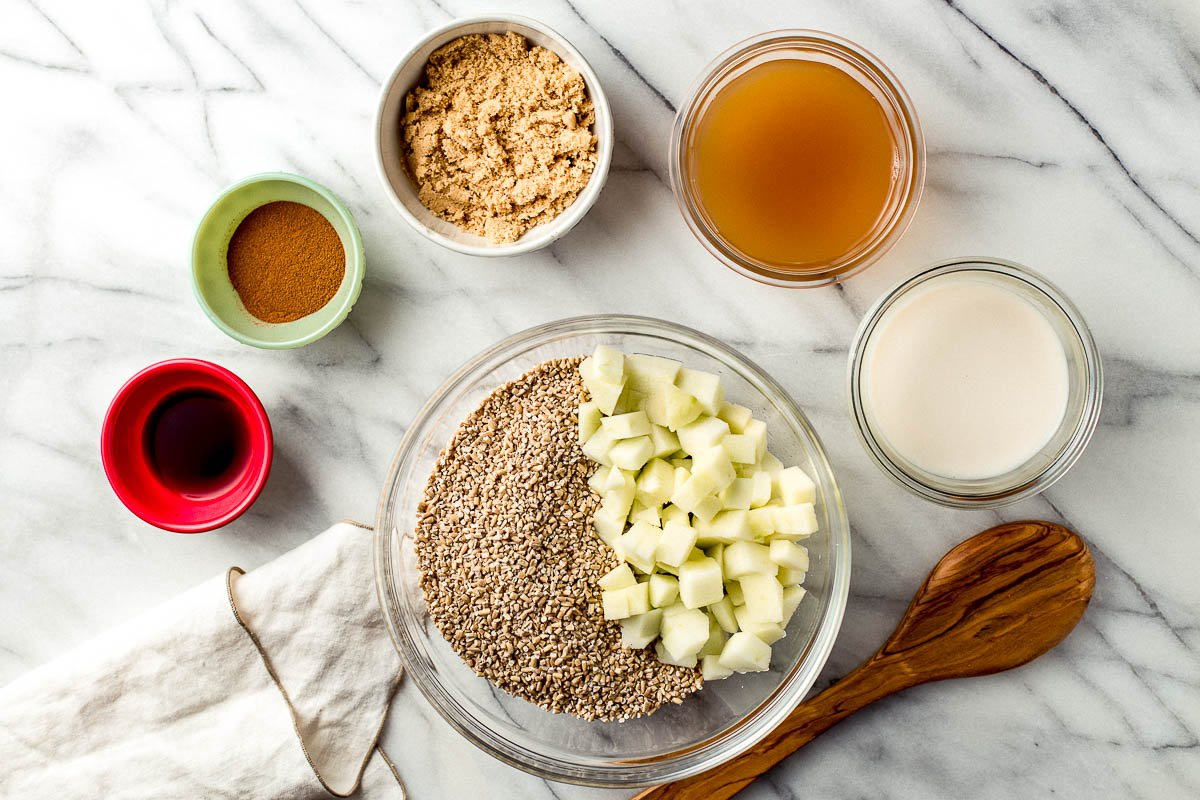 Ingredients on the kitchen counter in bowls.