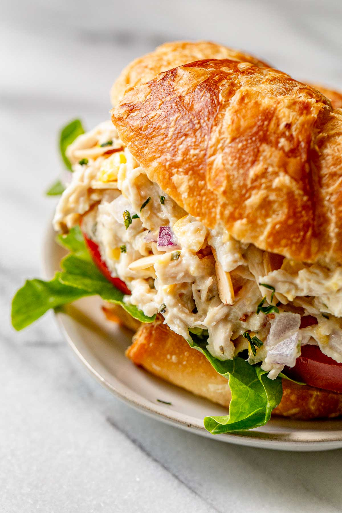 Tarragon chicken salad on a croissant bun.