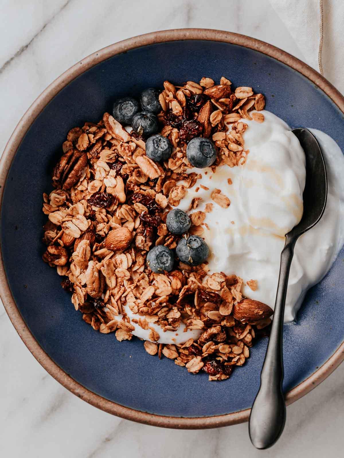 Granola and fresh blueberries over yogurt.