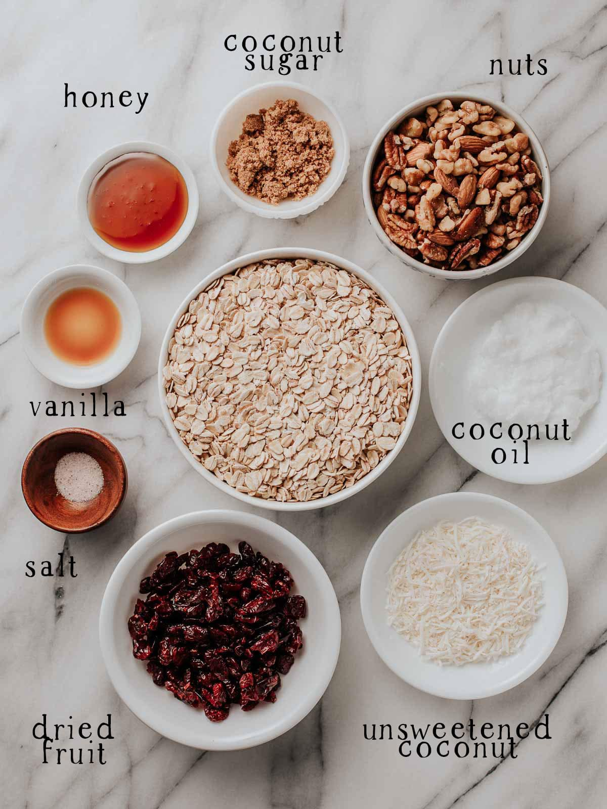 Granola ingredients on a table.