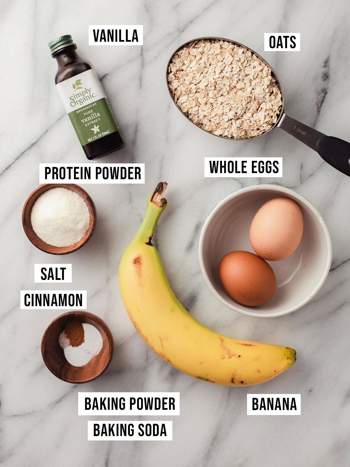 Protein pancake ingredients on a table.