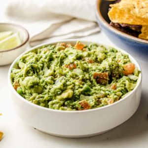 Freshly made guacamole in a bowl.